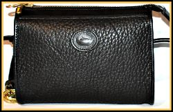 Elegant Black Diamond Mini Zip-Top Vintage Dooney Bag