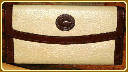 Ivory Chiffon Slim Zip Clutch Wallet Vintage Dooney