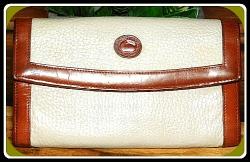 Creamy Coconut Checkbook Organizer Wallet Vintage Dooney
