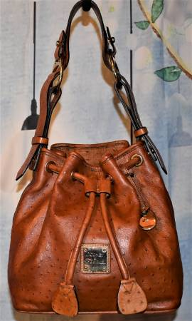 Toasty Cappuccino Caramel Brown Dooney Drawstring Ostrich Bucket Bag