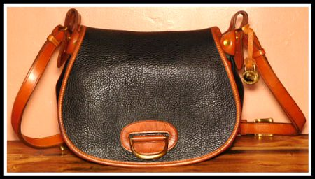 Old West Style Black Licorice Whip Large Dooney Horseshoe Bag