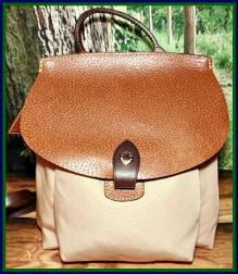NEW! Sandy Taupe & Tan Canvas & Leather Backpack