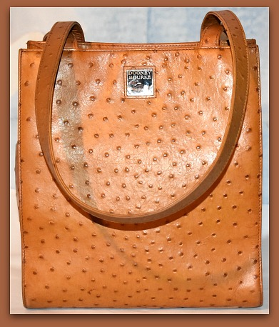 Spicy Ginger Brown Dooney and Bourke  Ostrich North-South Tote