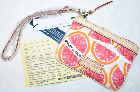 Dooney and Bourke  Brand NEW!  Fruity Collection  Grapefruit Wristlet-Coin Purse