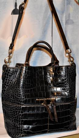Dooney & Bourke Leather Embossed Camden  Croco Satchel Shopper Shoulder Bag