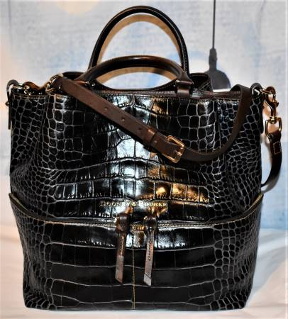 Exotic Black Safari Dooney Shopper Shoulder Bag