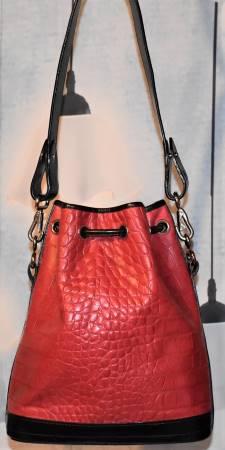 Dooney and Bourke  Calfskin Imprinted Leather  Bayou Collection: Alligator  Drawstring Shoulder Bag