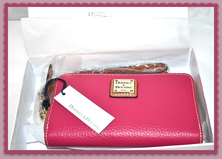 Dooney and Bourke Brand New! Pebble Grain Large Zip Around Phone Wristlet Wallet Strawberry