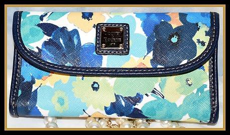 New! Tranquility Marine Blue Dooney Continental Clutch Wallet