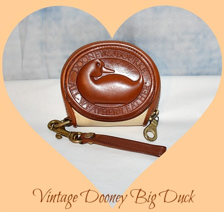 Vintage Dooney and Bourke  All-Weather Leather Big Duck   Bone & Tan Zipalong  Coin Purse