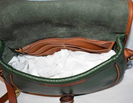 Dooney and Bourke All Weather Leather  Outback Collection  Loden Saddle Bag