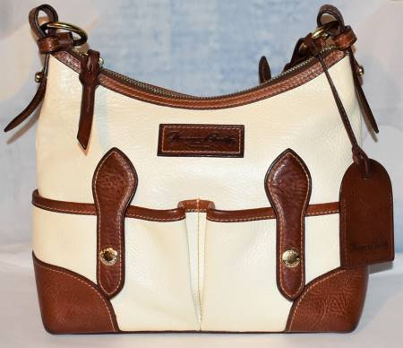Coconut Cookie Florentine Vacchetta Leather Double Pocket Dooney Shoulder Bag