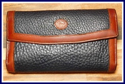Smart Navy Blue Wallet Checkbook& Coinpurse Dooney Bourke AWL