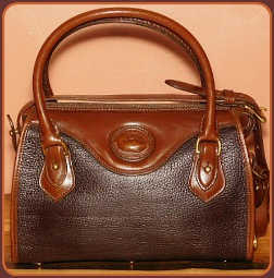 Stunning Dark Chocolate Brown & Black Vintage Dooney Satchel Shoulder Bag
