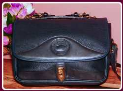 Dishy Indigo Berry Blue Vintage Dooney Carrier Large Shoulder Bag