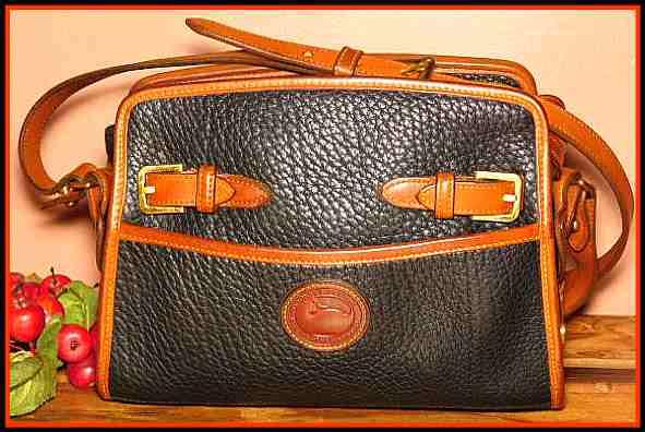 Black Licorice Whip Vintage Dooney Buckle Shoulder Bag