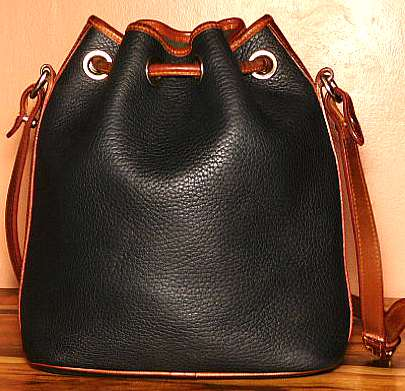 Midnight Black Drawstring Vintage Dooney Shoulder Bag