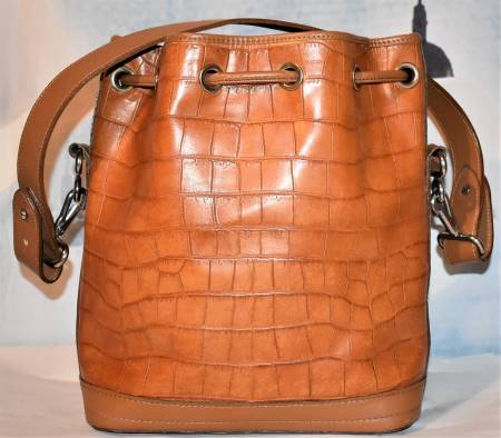 Dooney and Bourke  Calfskin Imprinted Leather  Bayou Collection: Alligator  Drawstring Shoulder Bag