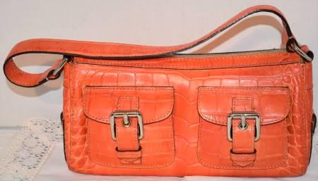 Sprite Tangerine Papaya Dooney Croco Bag