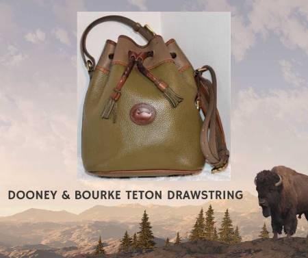 Olive Brown Dooney Teton Drawstring Bucket Bag
