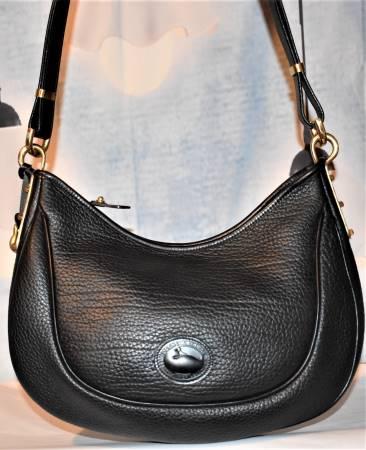 Dooney and Bourke All-Weather Leather  Large Crescent Sac   Black Shoulder Bag