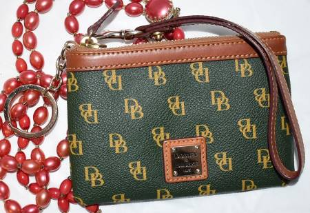 Dooney and Bourke  Deluxe Signature Wristlet  with Keyring