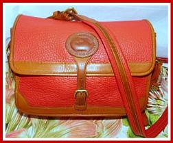 Elite Scarlet Tanager Red Vintage Dooney Large Surrey Bag