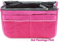 New! Ultimate Hot Flamingo Pink Handbag Organizer Insert with Pockets