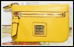 NEW! Extraordinary Yellow Dooney Deluxe Coin Purse