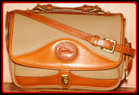Taupe & Toasty Ginger Brown Vintage Dooney Carrier Shoulder Bag