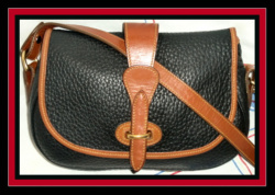 Sweet Classic Black & Tan Tack Bag Dooney & Bourke AWL
