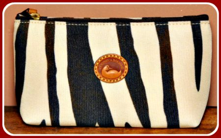 NEW! African Safari Exotic Zebra Dooney Cosmetic Case