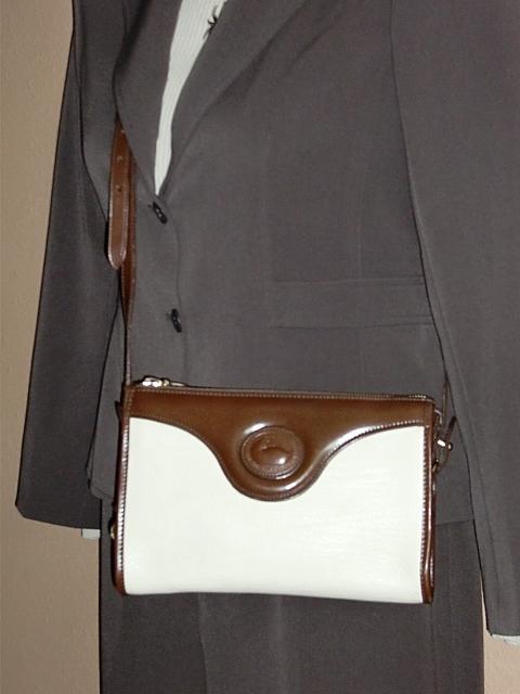 Dooney and Bourke Classic Zip Top Shoulder Bag in Bone with Burnt Cedar Trim