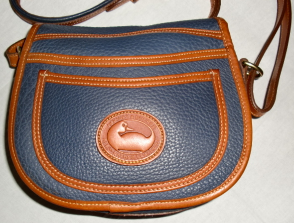 SOLD!!!Slate Blue Dooney and Bourke All Weather Leather Horseshoe Bag Mint & Rare