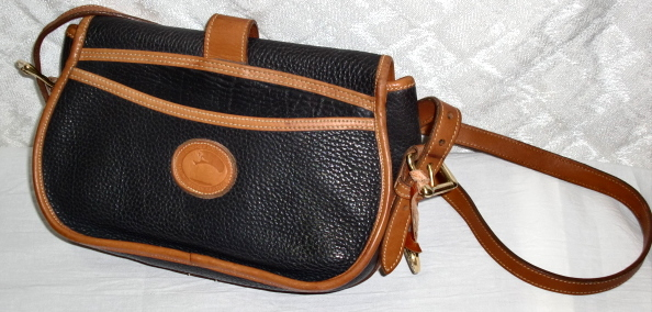 SOLD! Dooney & Bourke Over & Under Tack Bag Navy Blue & British Tan