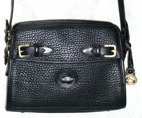 Black Licorice Whip Zip Top Vintage Dooney Buckle Shoulder Bag