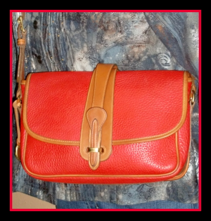 Red Equestrian Flap Bag Original Vintage Collectible