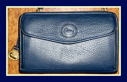 Navy Blue Zip-Along Wallet Dooney All Weather Leather