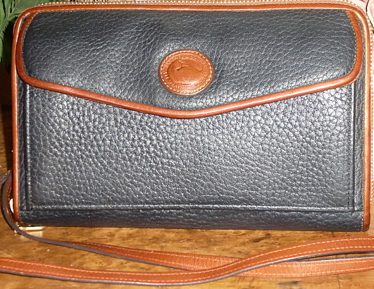 Navy Blue Zip-Along Dooney and Bourke AWL Large Wallet