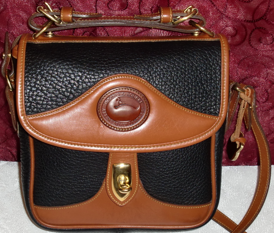 Dooney Carrier Vintage Awl Bag Black Square All Weather Leather And Bourke
