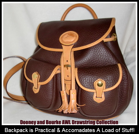 SOLD!!! Dooney and Bourke All Weather Leather Brown & Tan Backpack Saddle Bag Style
