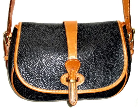SOLD! Dooney & Bourke Over & Under Tack Bag Navy Blue & British Tan