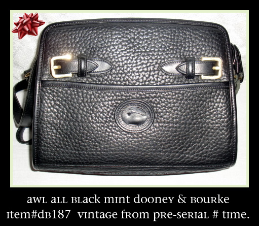 Black Licorice Whip Zip Top Vintage Dooney Buckle Shoulder Bag